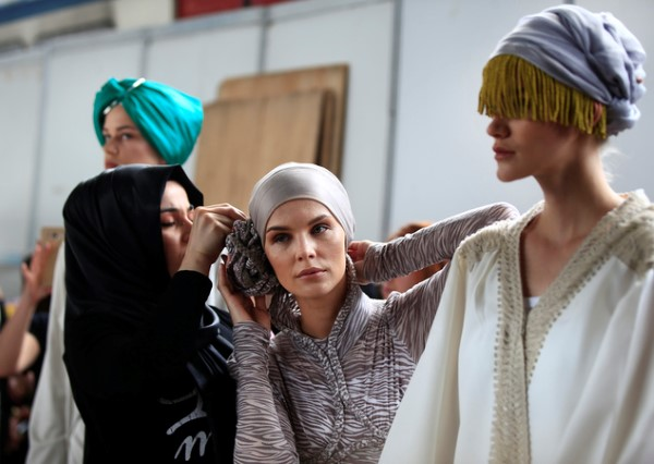 Backstage at International Modest Haute Couture, Istanbul